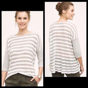 Anthro Eri + Ali Open Knit Striped Boxy Shirt Top